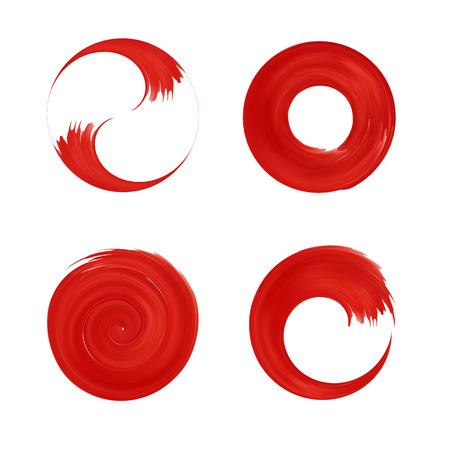Zestaw czerwony okrągły element projektu. Japonia czerwone kółko. szablony logo. Pociągnięcie pędzla wiruje.