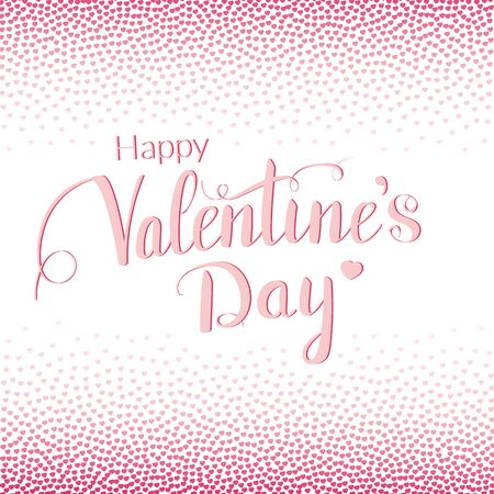 tiny: Valentines day greeting card with lettering and pink tiny hearts