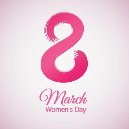 voluminous: 8 March, International Womens Day. Greetting card Illustration