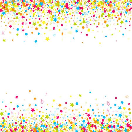 Kleurrijke achtergrond met vele dalende confetti. vector illustratie Stock Illustratie