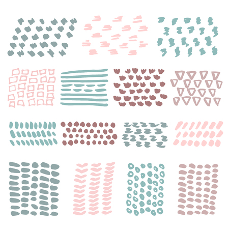 border designs: Hand Drawn textures made with ink isolated on white. Pastel colors.