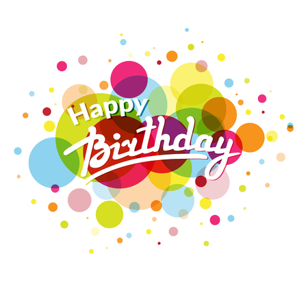 happy birthday text: Happy Birthday greeting card template on background with  colorful  circles