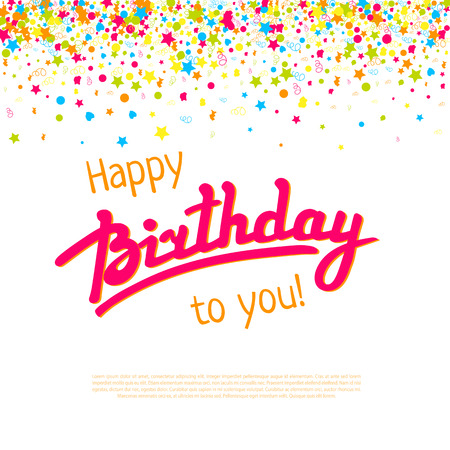 fond de texte: Happy Birthday greeting card template with hand lettering, confetti and textbox Illustration