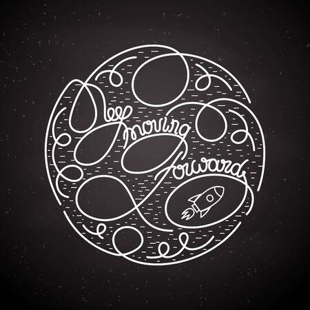 inspiring: Keep Moving Forward . Creative Inspiring Motivation card with lettering