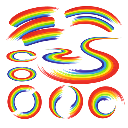 circle objects: Rainbows in abstract shape set for design, banners isolated on white background. Rainbow icons.