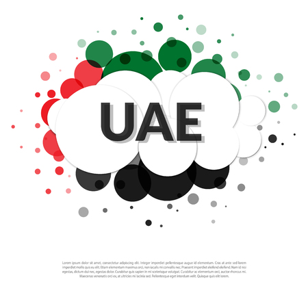 Abstract banner in UAE flag colors. Welcome UAE Illustration