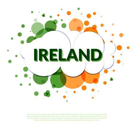 bandera de irlanda: Resumen en colores de la bandera de Irlanda. Bienvenido Irlanda. Vectores