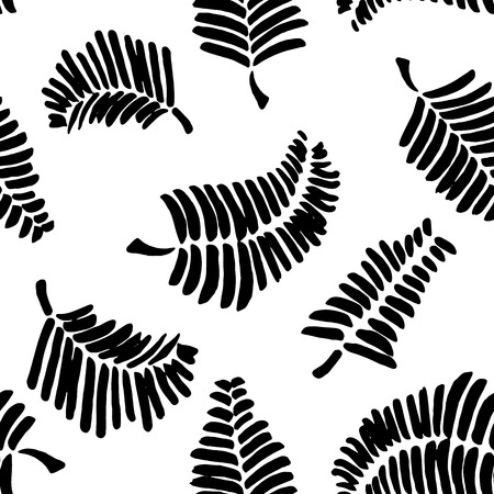monochromatic: seamless pattern with  leaves. Monochromatic Seamless pattern with  feathers.