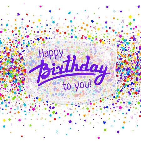 birthday greetings: Tarjeta de felicitaci�n del feliz cumplea�os con letras y confeti