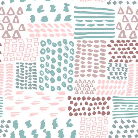 fabric design: painted geometric seamless pattern. Doodle pattern. Illustration