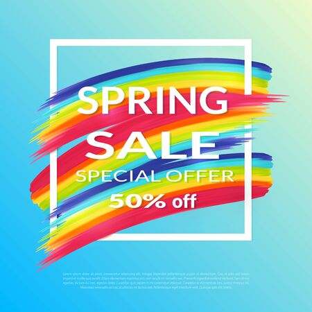 textbox: Spring Sale design template. Special offer  Rainbow background and white frame and textbox