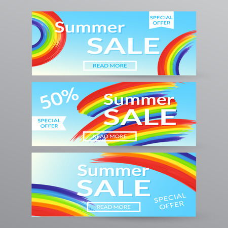 closeout: Banners summer sale. Advertising banner. Promotional banner. Summer sale posterwith rainbow.
