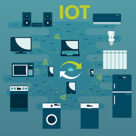 fridge lamp: IOT. Internet of Things.  Innovative technology illustration