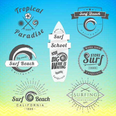 emblem: Set of vintage surfing labels, badge. Surfing templates.