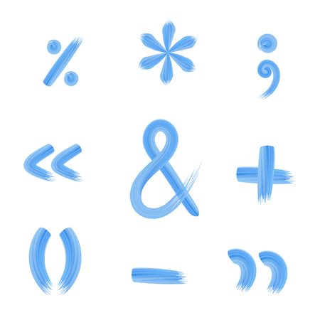 parentheses: Set of punctuation marks and signs of arithmetic operations. Stock Photo