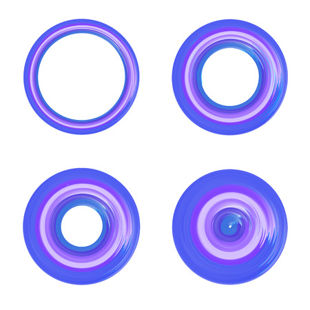 width: Set of different width circle design element.  Creative O letter sign.