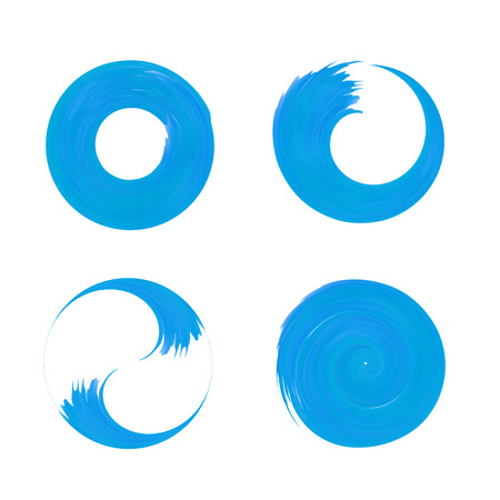 ductile: Set Of Blue Round Element For Design. Blue Circle Templates. O Brush Stroke Swirls. O Letter brush paint.