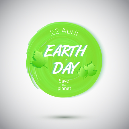 day care: Earth Day badge isolated . Green symbol  of Earth Day.