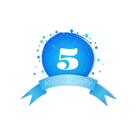 fifth: Fifth Anniversary Celebration Design isolated on white background Illustration