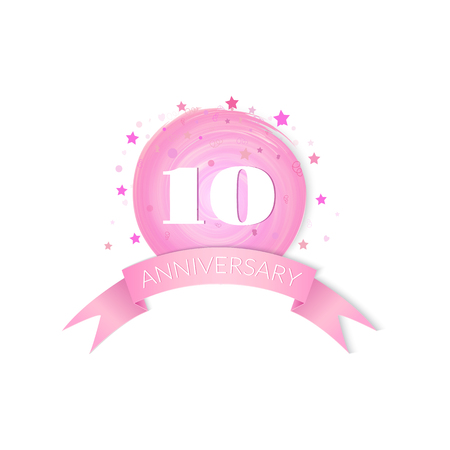 tenth: Tenth  Anniversary Celebration Design isolated on white background Illustration