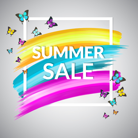 Colorful Sale Summer Banner design for promotion. Sale Poster with frame and butterflies. Vector  illustration.