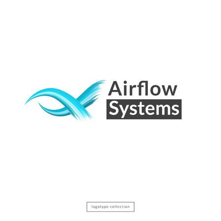Airflow logo design template. Blue waves icon. Vector illustration. Logo