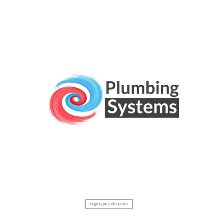 Plumbing company logo design template. Blue and red waves icon. Vector illustration.