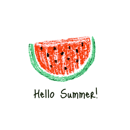 watermelon slice: Crayon kids drawn watermelon slice .Vector illustration