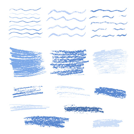 crayon: Set of crayon drawn textures .  Hand drawing blue background and patterns. Isolated vector illustration.