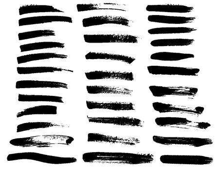 Set of Black paint brush stains