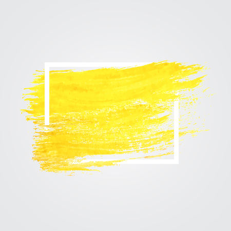 Bright yellow paint brush stroke Фото со стока - 59923068