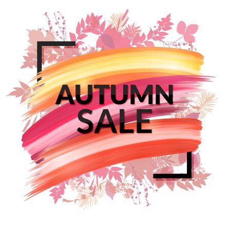 Colorful Autumn Sale Banner with foliage