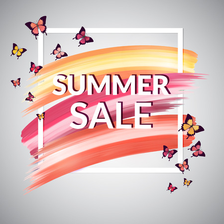 Pastel Summer Sale Banner with butterfly.