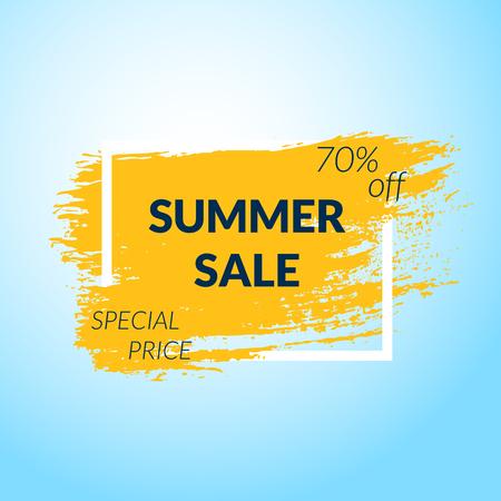 Summer Sale banner. Orange Paint brush background. Çizim
