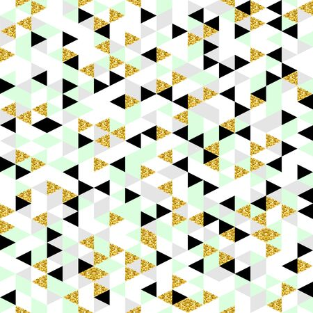 Moderm geometric seamless pattern. Trendy triangular background in gold, pastel green, white,grey and black colors. Abstract design for fashion, card,wrapping, cover, print and wallpaper.