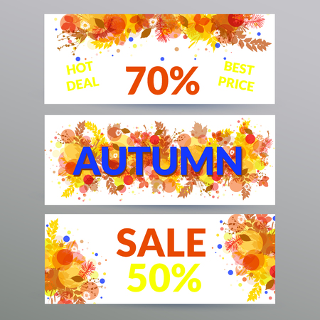 Colorful floral autumn sale web banners with orange foliage, design for promotion. Posters with leaves and twigs.
