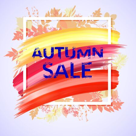 Colorful Autumn Sale Banner with red foliage, design for promotion. Poster with frame, floral back, texture text and brush strokes. Çizim