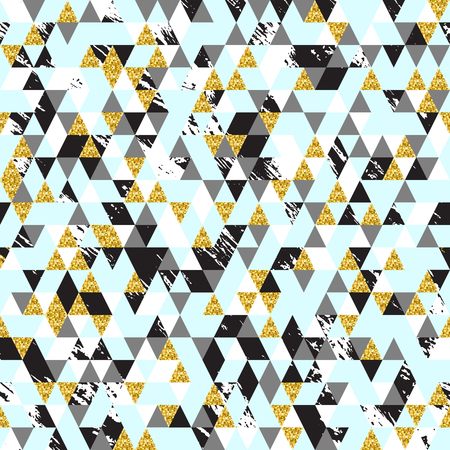 moderm: Moderm geometric seamless pattern. Trendy triangular background in gold, pastel blue, white,grey and black colors texture. Abstract design for fashion, card,wrapping, cover, print and wallpaper. Illustration