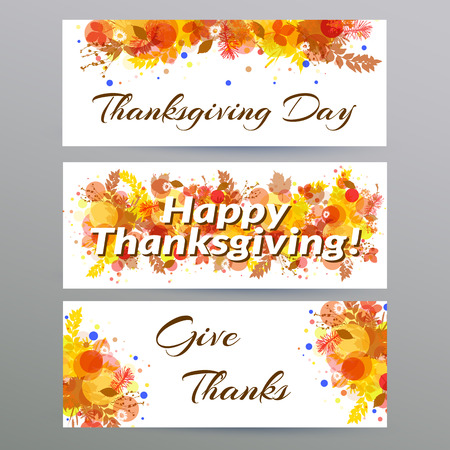 Happy Thanksgiving day. Three banners with autumn foliage.