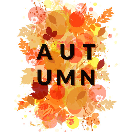 Autumn banner vector isolated. Red, yellow and orange foliage background. Floral decor. Design element for promotion, flyer, poster, invitation.