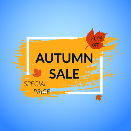 Autumn Sale banner with leaves. Orange Paint brush background. Vector illustration.