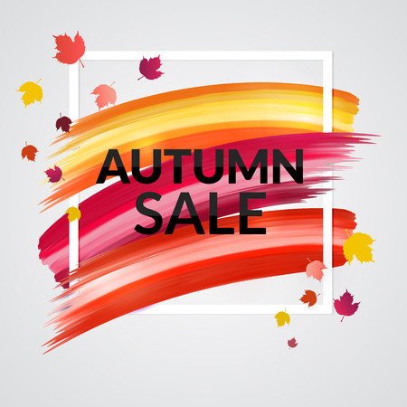 Colorful Autumn Banner design for promotion. Sale Poster with frame and leaves. Vector illustration. Stok Fotoğraf - 65226139