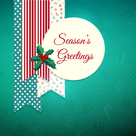 Season's greeting. Christmas greeting card with tags and holly. Çizim