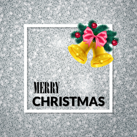 Merry Christmas . Holiday background. Xmas greeting Card on silver glitter background. Poster with frame, fir tree and gold bells. Фото со стока - 65226147