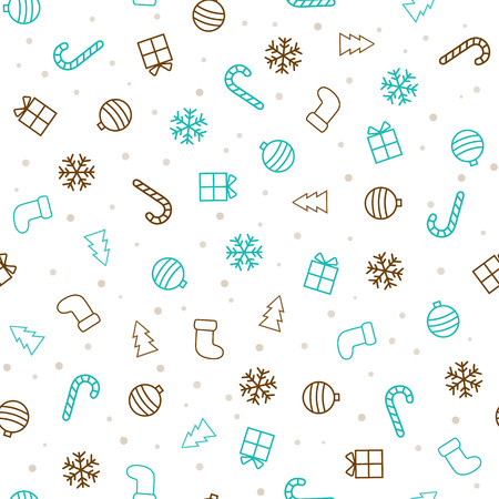 Christmas background. Flat christmas seamless pattern with stockings, trees, baubles, gifts, candycanes and snowflakes. Vector illustration Çizim