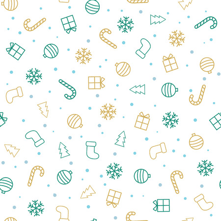 Christmas background. Flat christmas seamless pattern with stockings, trees, baubles, gifts, candycanes and snowflakes. Vector illustration Stok Fotoğraf - 65226152