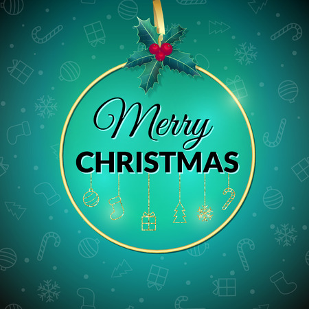 Merry Christmas . Green Holiday background. Xmas greeting card with gold baubles, holly and gold round frame. Poster. Christmas background. Фото со стока - 65226155