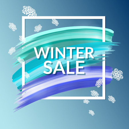 Winter sale paint banner with flying snowflakes Stok Fotoğraf - 65226158