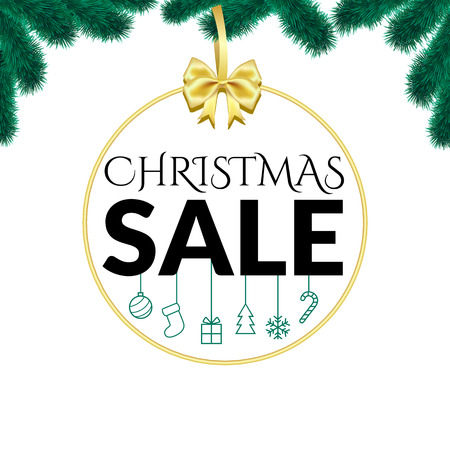 Christmas sale design template on white back