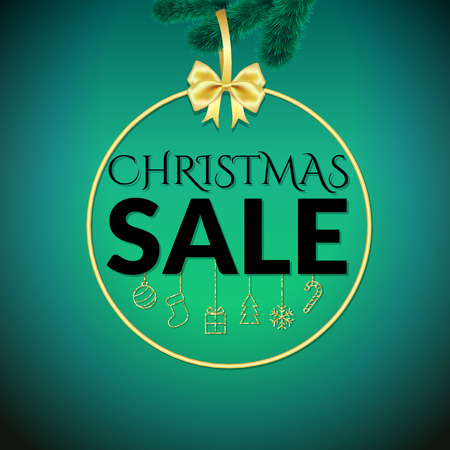 Christmas sale design template on green background Stok Fotoğraf - 65226165
